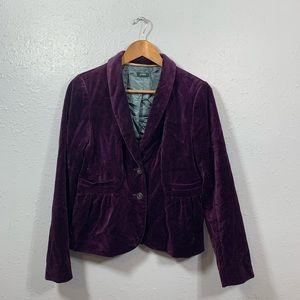 J Crew Purple Velvet Blazer Jacket Size 8